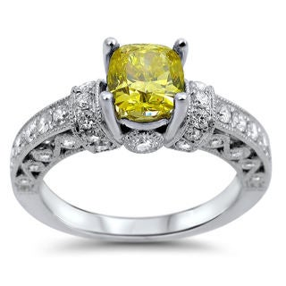 18k White Gold 1 1/3ct Cushion-cut Fancy Canary Yellow and White Diamond Ring (F-G, SI1-SI2)