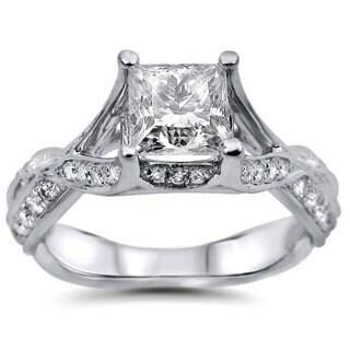 Noori 18k White Gold 1 1/4ct Princess-cut Round Diamond Engagement Ring (G-H, SI1-SI2)