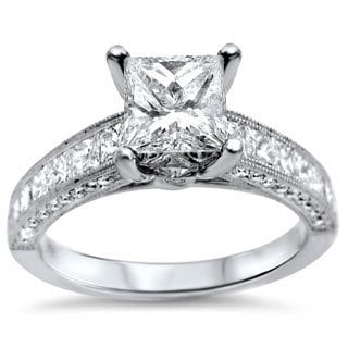 Noori 18k White Gold 1 7/8ct TDW Princess-cut Diamond Engagement Ring (G-H, SI1-SI2)