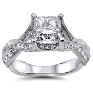 18k White Gold 1 1/2ct Princess Cut Round Diamond Engagement Ring (G-H, SI1-SI2)