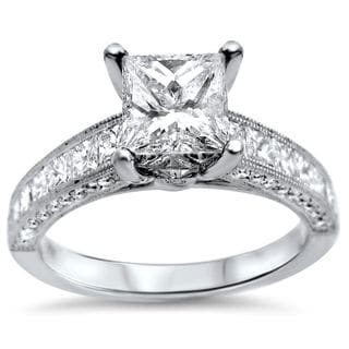 18k White Gold 2 1/6ct Princess-cut Diamond Engagement Ring (G-H, SI1-SI2)