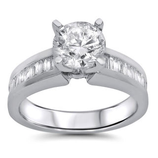 14k White Gold 1 1/2ct Round Baguette Diamond Engagement Ring (G-H, SI1-SI2)