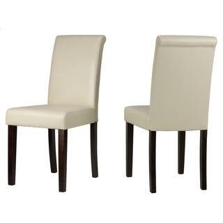 Cortesi Home Cece Cream Vinyl Dining Chairs (Set of 2)