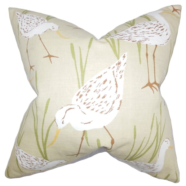 Agapi Animal Feather Filled Thow Print Sand Sand 18-inch Throw Pillow