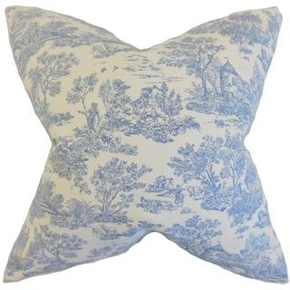 Ramira Toile Feather Filled Denim 18-inch Throw Pillow