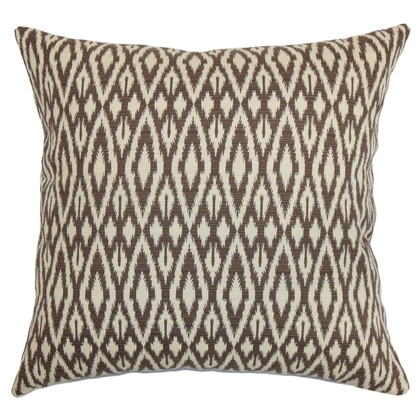 Hafoca Ikat 18-inch Feather Filled Thow Chocolate Chocolate 18-inch Throw Pillow
