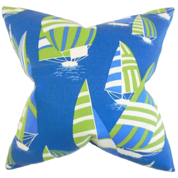 Maraca Coastal 18-inch Feather Filled Thow Blue Green Blue Green 18-inch Throw Pillow