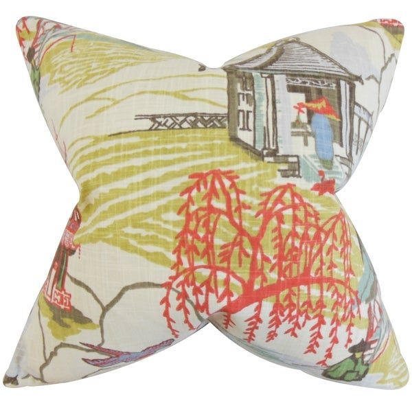 Praxis Geometric Feather Filled Thow Coral Coral Throw Pillow
