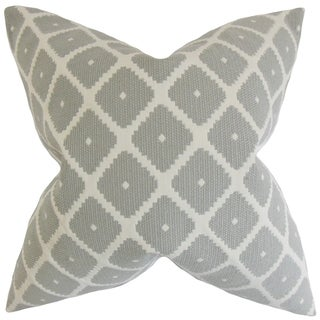 Fallon Geometric Feather Filled Thow Dove Dove Throw Pillow