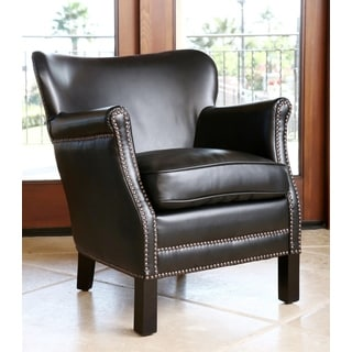 ABBYSON LIVING Kids Kent Black Bonded Leather Nailhead-trim MINI Armchair