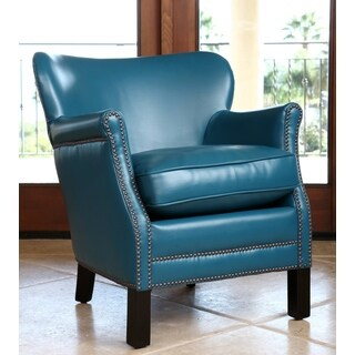ABBYSON LIVING KIDS Kent Leather Nailhead-trim Kids Aqua Blue Armchair