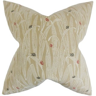 Dusha Sand Color Foliage 18-inch Feather Filled Throw Pillow