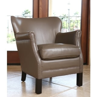 ABBYSON LIVING KIDS Kent Leather Nailhead-trim Kids Taupe Armchair