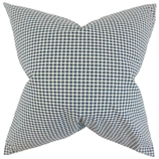 Hye Blue Plaid Feather Filled Throw Pillow