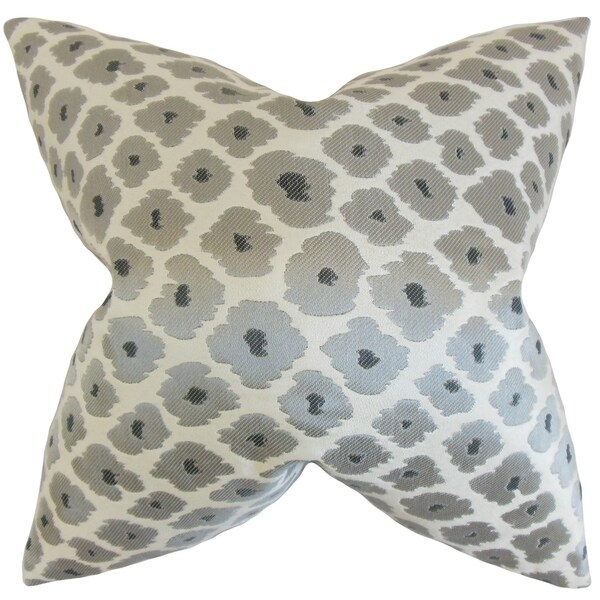 Fanna Grey Geometric Feather Filled Throw Pillow