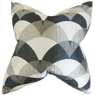 Carlsen Black and Grey Geometric Feather Filled Throw Pillow