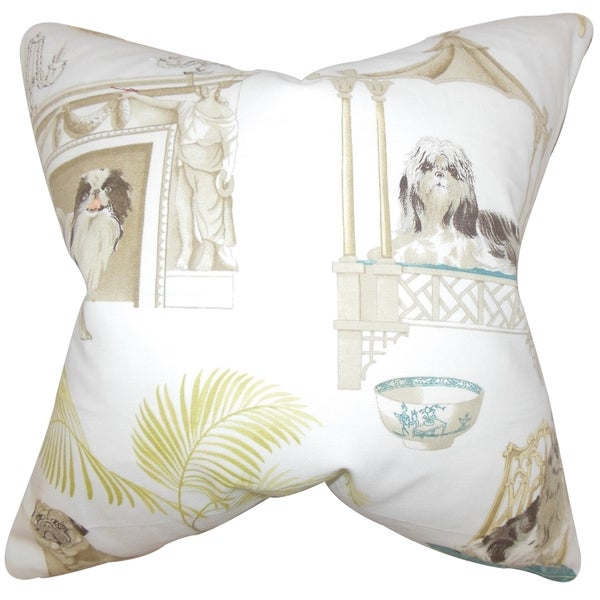 Zuzela Animal Print 18-inch Ivory Feather Filled Throw Pillow