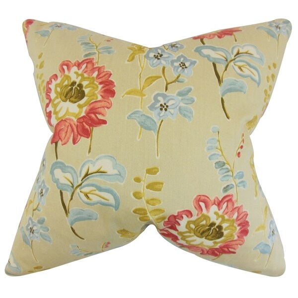 Haley Natural Floral Feather Filled Throw Pillow