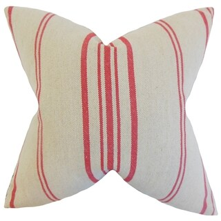 Lido Stripes Feather Filled Red 18-inch Throw Pillow