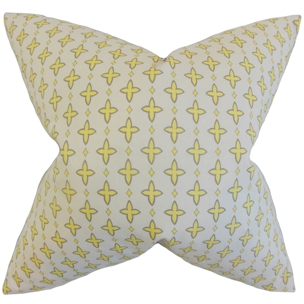 Auden Lemon Grey Geometric Feather Filled Throw Pillow