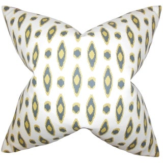 Vanelle White Yellow Geometric 18-inch Feather Filled Throw Pillow