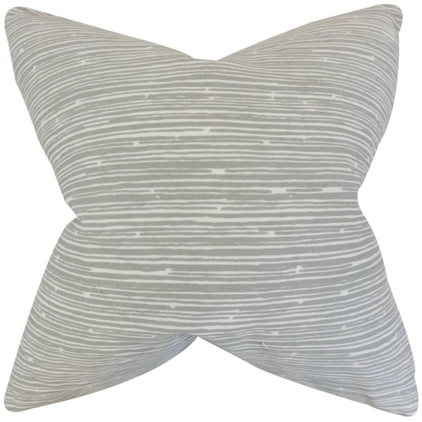 Hecuba Light Grey Stripes 18-inch Feather Filled Throw Pillow