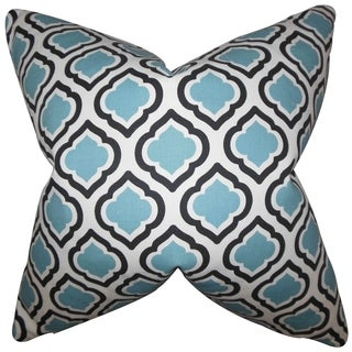 Abijah Blue Geometric 18-inch Feather Filled Throw Pillow