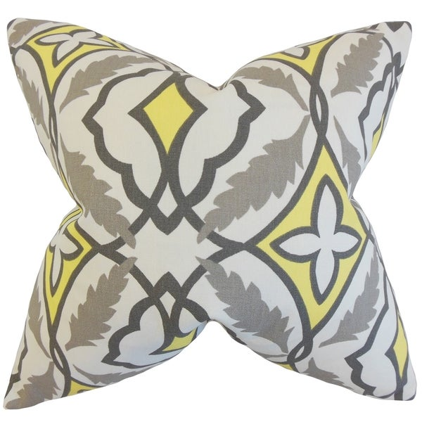 Beck Grey Yellow Geometric 18-inch Feather Filled Throw Pillow