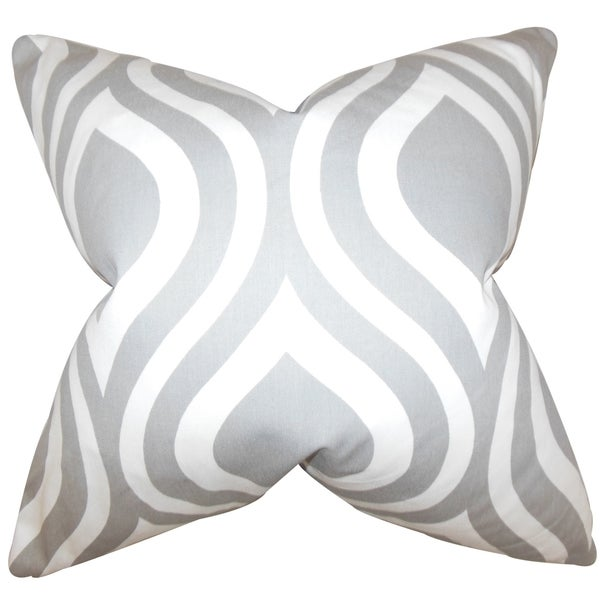 Larch Light Grey Geometric 18-inch Feather Filled Throw Pillow