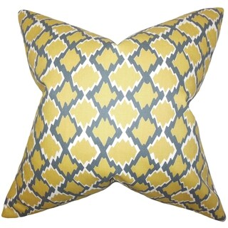 Welcome Geometric 18-inch Yellow Feather-filled Throw Pillow