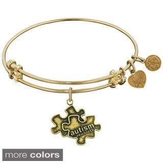 Angelica Autism Puzzle Charm Brass Bangle
