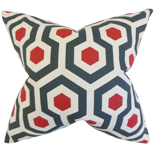 Maliah Blue Red Geometric 18-inch Feather Filled Throw Pillow