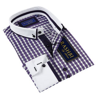 Rashbi Men's Purple Long Sleeve Dress Shirt