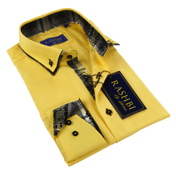 Rashbi Men's Long Sleeve Yellow Dress Shirt