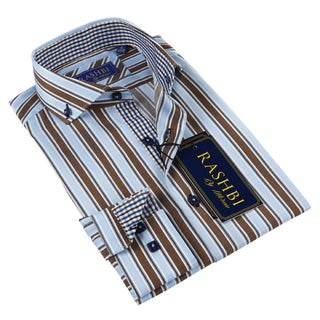 Rashbi Men's Blue and Brown Striped Dress Shirt