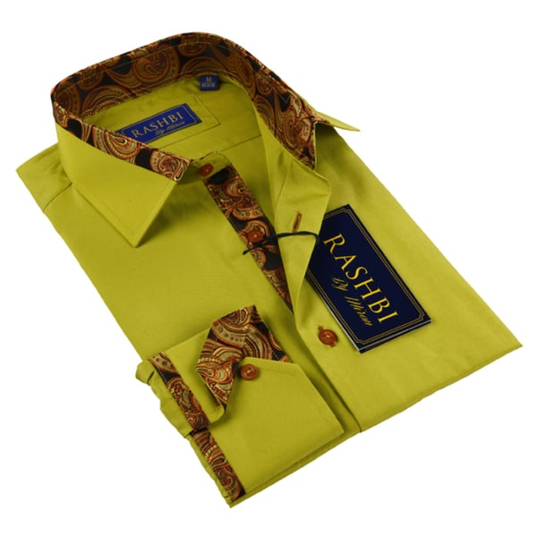 Rashbi Men's Yellow Long Sleeve Dress Shirt