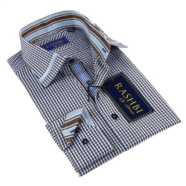 Rashbi Men's Blue Dress Long Sleeve Shirt