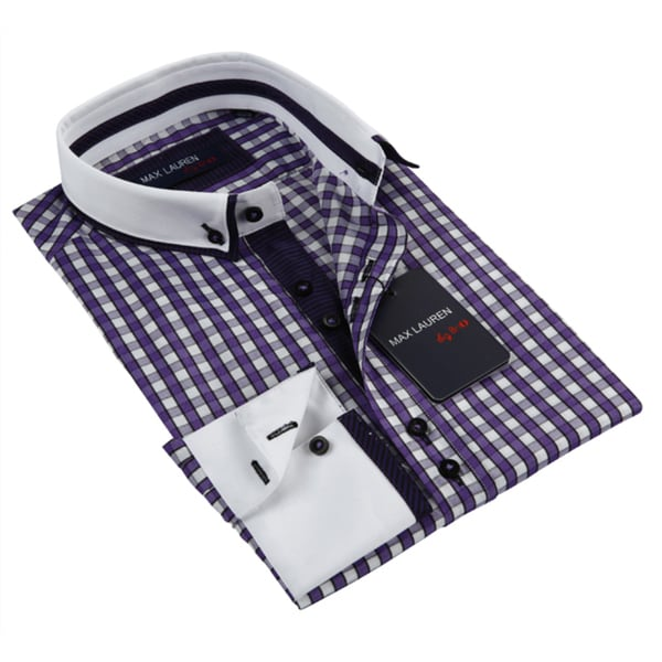 Max Lauren Men's Purple Long Sleeve Dress Shirt