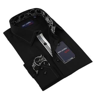 Max Lauren Men's Black Long Sleeve Dress Shirt