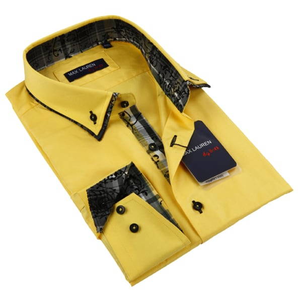Max Lauren Men's Yellow Long Sleeve Dress Shirt