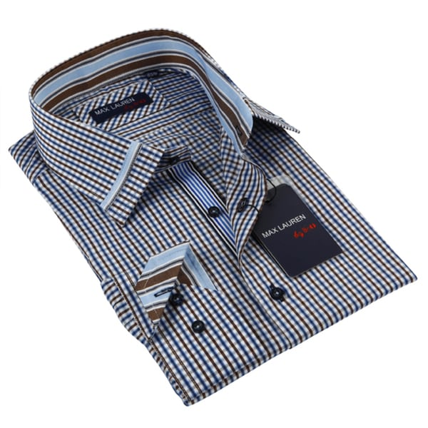 Max Lauren Men's Blue Long Sleeve Dress Shirt