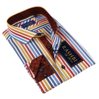 Rashbi Men's Multicolor Stripe Dress Shirt