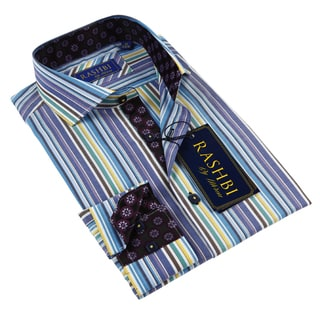 Rashbi Men's Blue Stripe Dress Shirt