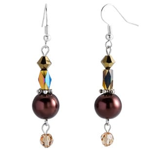 Kele & Co's Sterling Silver Freshwater Pearl and Crystal Dangle Earrings