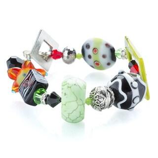 Kele & Co .925 Sterling Silver Lampwork Glass Bead and Crystal Bracelet