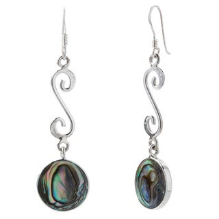.925 Sterling Silver Abalone Disc and Swirl Earrings