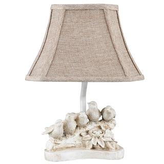 Somette Distressed White 'Bird Chorus' Accent Lamp