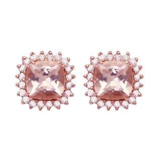 Beverly Hills Charm 10k Rose Gold Morganite and 1/7ct TDW Stud Earrings (H-I, I2-I3)
