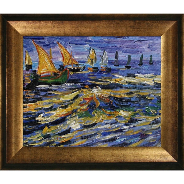 Vincent Van Gogh Seascape at Saintes Maries de la Mer Hand Painted Framed Canvas Art