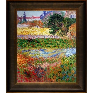 Vincent Van Gogh Flowering Garden with Path Hand Painted Framed Canvas Art